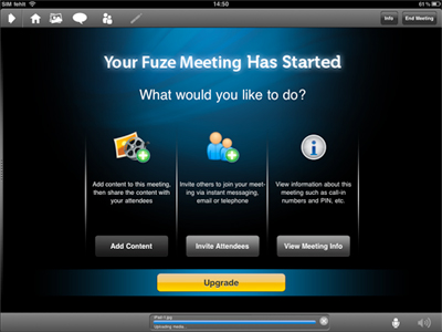 Fuze Meeting intro screen on the iPad